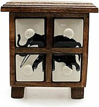 Gall & Zick - Keramik-Kommode braun - Elefant mit