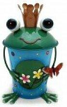 Gall & Zick Neu Neu Tischabfalleimer Kosmetikeimer Abfalleimer Frosch mit Krone und Blumen bunt Metall handbemal