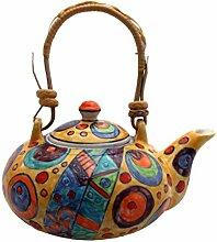Gall&Zick Teekanne Keramik bunt gelb handbemalt