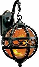 GaLon Vintage Außenlampe Rustikale Schwarz Rund