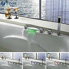 Galvanik Retro Armatur Badewanne Armaturen LED Wasserfall Auswurfkrümmerleuchte Bad Sauna 5 pc-Sets Duschkopf, Verteiler, zwei Griffe, Dusche Schlauch YGWJ 027, Weiß