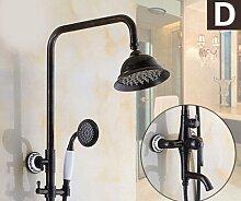 """Galvanik Retro Wasserhahn Öl eingerieben Bronze einzigen Griff Messing Badezimmer Dusche Badewanne Set Wasserhahn an der Wand montierte 8"""" Regendusche Mischbatterie, Dunkelgrau"""