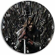 Game of Thrones Bild auf Wanduhr mit schwarzen