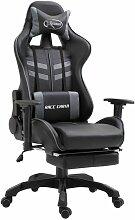 Gaming-Stuhl mit Fußstütze Kunstleder Grau