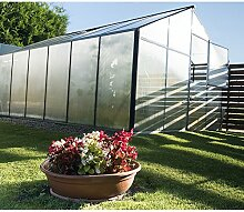 Gampre Aluminium Gewächshaus-Set, Gartenhaus, Pflanzenhaus Sanus XL12 silber // 290x430x225 cm // Frühbeet, Aufzucht und Treibhaus