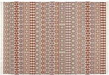GAN Kilim Naidu Teppich, weiß rot 150x200cm