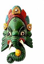 Ganesh Handarbeit Holzmaske aus Nepal 22x12 (Grün)