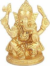 Ganesha Aadaa Messing Figur 7.11 x 8.13 x 7.11 in