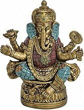 Ganesha Figur sitzend Gold/Blau/Rot aus Poly