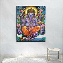 Ganesha-Gemälde auf Leinwand, gerahmt, 50 x 70