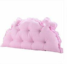 GAOCF Kissen Einfache Moderne Koreanische Garten Prinzessin Waschbares Polyesterfaser Bett Feuchtigkeitspermeabilität Große Hinterzimmer , Pink , 120Cm (Detachable)