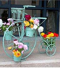 GAOCHAOXIANGHJ Blumenregal Eisen Bodenart 5. Stock Fahrrad Blumentopf Regal Kontinentales Interieur draussen Einfach Blumentopf Regal ( farbe : Grün , größe : 84cm*32cm*70cm )