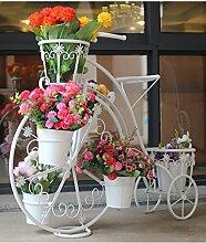 GAOCHAOXIANGHJ Blumenregal Eisen Bodenart 5. Stock Fahrrad Blumentopf Regal Kontinentales Interieur draussen Einfach Blumentopf Regal ( farbe : Weiß , größe : 84cm*32cm*70cm )