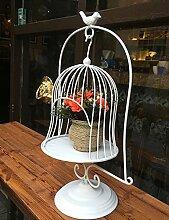 GAOCHAOXIANGHJ Blumenregal Eisen Dekorative Vogelkäfig Blumentopf Regal europäischer Stil Dekoration Fenster Fleischige Pflanzenregale ( farbe : Weiß , größe : 20cm*50cm )