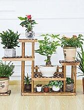 GAOCHAOXIANGHJ Blumenregal Holz Bodenart 5. Stock Blumentopf Regal europäischer Stil Innen- draussen Einlegeböden Pflanzenregale ( farbe : B )
