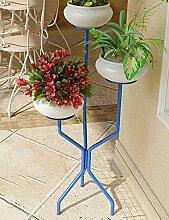 GAOCHAOXIANGHJ Blumentopf Regal Eisen Bodenart 3 Schichten Blumenregal europäischer Stil Innen- Einfach Regale ( farbe : Blau , größe : 39cm*39cm*95cm )