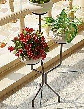 GAOCHAOXIANGHJ Blumentopf Regal Eisen Bodenart 3 Schichten Blumenregal europäischer Stil Innen- Einfach Regale ( farbe : Schwarz , größe : 39cm*39cm*95cm )