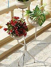 GAOCHAOXIANGHJ Blumentopf Regal Eisen Bodenart 3 Schichten Blumenregal europäischer Stil Innen- Einfach Regale ( farbe : Weiß , größe : 39cm*39cm*95cm )