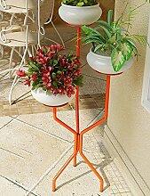 GAOCHAOXIANGHJ Blumentopf Regal Eisen Bodenart 3 Schichten Blumenregal europäischer Stil Innen- Einfach Regale ( farbe : Orange , größe : 39cm*39cm*95cm )
