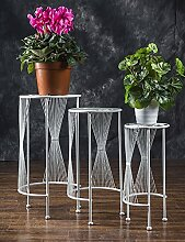 GAOCHAOXIANGHJ Blumentopf Regal Eisen Bodenart Blumenregal europäischer Stil Einfach Innen- draussen Regale Dreiteilig ( farbe : Weiß )