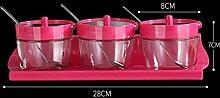 GAODUZI Küche Gewürz Box Set Haushalt Gewürz Behälter Glas Gewürz Box Salzbehälter Gewürz Flasche Salz-Box ( Farbe : Pink , Design : B )