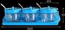 GAODUZI Küche Gewürz Box Set Haushalt Gewürz Behälter Glas Gewürz Box Salzbehälter Gewürz Flasche Salz-Box ( Farbe : Blau , Design : B )