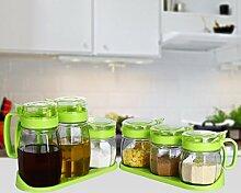 GAODUZI Küche Glas Gewürzbehälter Gewürzbehälter Gewürzkasten Öltank Gewürzflasche Gewürzkasten Salzbehälter Haushalt Set Set ( Farbe : Grün , Design : B )