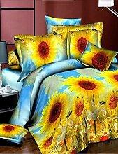 GAOHAIFQ®, vierteilige Anzug, 3d Mode komfortable Blumendruck Bettwäsche vier Stück