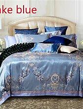 GAOHAIFQ®, vierteilige Anzug,4-teilige Rom-Art-Jacquard Bettbezug gesetzt Bettwäsche aus 100% Baumwolle bestickt , queen-red , queen-red
