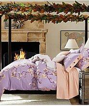 GAOHAIFQ®, vierteilige Anzug,american vierköpfige Familie Baumwoll-Twill voll aktiv Druckenbettwäsche suite Queen / King-Size- , queen-white oak , queen-white oak