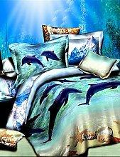 GAOHAIFQ®, vierteilige Anzug, Bettbezug-Set, Set 3D Ölgemälde Bettwäsche 4pcs Deckbett Duvet umfasst Bettlaken Bettwäsche mit Delphin-Muster eingestell
