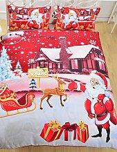 GAOHAIFQ®, vierteilige Anzug,Bettwäsche Weihnachtsnacht Heimtextilien heißen roten Weihnachtsmann gedruckte Bettlaken Familie Bettwäsche 3pcs Zwillingsvoll Queen , queen