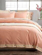 GAOHAIFQ®, vierteilige Anzug,einfache Opulenz aus 100% Baumwolle Schliff 4 Stück einfache Haus Thema Bettwäsche mit 1 flaches Blatt 2 Kissenbezüge eingestellt , king-grey , king-grey