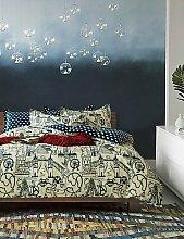 GAOHAIFQ®, vierteilige Anzug,einfache Opulenz Karikatur 100% cotton gedruckte Hand gezeichneten Königköniginbettbezug mit 1 Spannbetttuch und 2 Kissenbezüge , queen