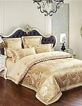 GAOHAIFQ®, vierteilige Anzug,Flash-Verkauf Bettwäsche Goldblumenbettlaken Set warme und weiche Bettdecke Geschenke Tribut Seide Tröster 4pcs Königin König , king