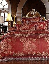 GAOHAIFQ®, vierteilige Anzug,Neuankömmlinge Bettwäsche Luxus reifen Stil Bettlaken Set Hochzeitsgeschenk Bettüberwurf Blumendecke 4pcs Königin King-Size , queen