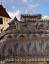 GAOHAIFQ®, vierteilige Anzug,Schlagbohrmaschine Bettwäsche tief braun Bettbezug gesetzt warmen und weichen Bettlaken seidigen Decke für zu Hause 4pcs Königin King-Size , king