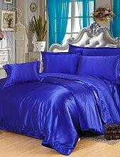 GAOHAIFQ®, vierteilige Anzug,Seide Bettwäsche-Set, Größe Heimtextilien König Königin, Bettwäsche, Bettbezug Flachkissenblatt , queen