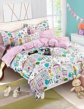 GAOHAIFQ®, vierteilige Anzug,Stadt Druck Bettwäsche Set Queen-Size-Bettlaken + Decke cover + pillowcase 4pcs Baumwolle Bettwäsche , queen-light pink , queen-light pink