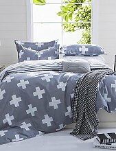 GAOHAIFQ®, vierteilige Anzug, venuscross und Streifen grau Königin und Twin-Size-Schleifbettwäschesätze 4pcs für Jungen und Mädchen Bettwäsche china , twin