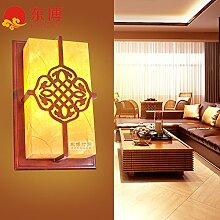 GaoHX Chinesische Mauer Lampe Wandleuchte Holz Schaffell Gang Flur Balkon Wandleuchte