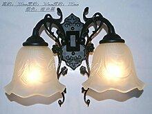 GaoHX Europäischen Schmiedeeiserne Wandleuchte Nachttischlampe Spiegel Lampe Double Leiter Pastorale