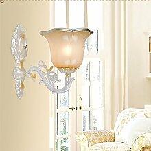 GaoHX Light Kontinentale Einzelne Wand Lampe Nachttischlampe Schlafzimmer Amerikanischen Schmiedeeisen Wand Lampe Korridor Glas Wandleuchte