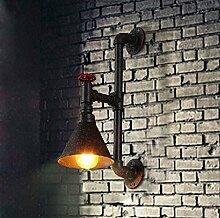 GaoHX Light Kreative Persönlichkeit Bett Treppen Balkon Wand Lampe Kopf Einzelrohr Vintage Industrielle Amerikanisches Schmiedeeiserne Lampe Wandleuchte