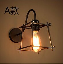 GaoHX Light Moderne Schmiedeeisen Wand Lampe Jahrgang Nach Einfachen Amerikanischen Ländliche Industrielle Wind Schlafzimmer Wandleuchte,Abschni