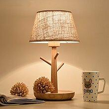 GaoHX Light Nordischer Kunst Kreative Wohnzimmer Schlafzimmer Nachttischlampe Lampe Einfach Amerikanische Holz Dekorative Stoff Tischleuchte