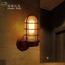 GaoHX Light Vintage Industrial Wind Korridor Cafe Flure Geschmückt Schmiedeeisen Wand Lampe Kreativwirtschaft Glas Wandleuchte