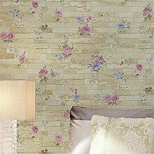 GaoHX Vliestapete Einfache Tapete Personalisierungs Shop Für Chinesische Ländlichen Brick Muster Tapete ( Color : D )