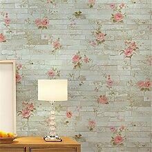 GaoHX Vliestapete Einfache Tapete Personalisierungs Shop Für Chinesische Ländlichen Brick Muster Tapete ( Color : B )