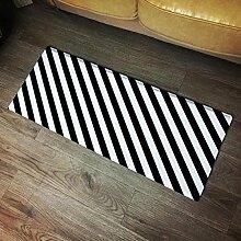 GAOJIAN Schwarz-Weiß-gestreifte Wolldecken Persönlichkeit Trend Design Boden Matte Tür Küche Teppich Schlafzimmer Badezimmer Rutschfeste lange Wolldecke , 80*120cm , d